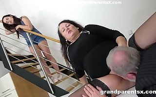 Grandpa fucks his fat wife with the addition of stepdaughter