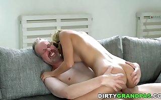 Tiny Sarah Cute loves old dick