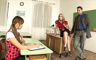 Charming Teacher Cathy Campbell calls the principal to discipline schoolgirl and they take a crack at a hot threesome
