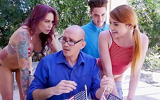 BANGBROS - Awesome 4th Be expeditious for July Threesome With Monique Alexander, Adria Rae & Juan El Caballo Loco