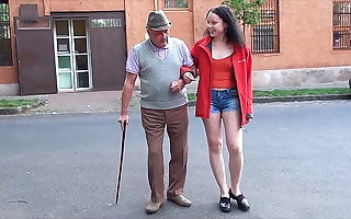 A happy day for grandpa surrounding a small dick